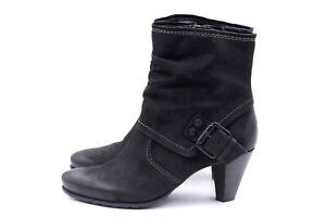 VENTURINI Damen Stiefel Stiefeletten EUR 39 UK 6 Gefüttert Schwarz Leder TOP