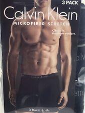"3 Pack Calvin Klein Microfiber Stretch Boxer Brief, Black, Size XL 40-42"""