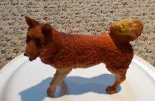 Vintage unknown maker Large hard rubber plastic Collie Dog Orange yellow white