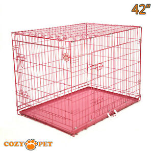 Dog Cage 42 inch Puppy Crate XL Cozy Pet Pink Dog Crates Folding Metal Cages