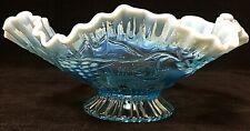 Vintage Jefferson Aqua Blue Opalescent Glass Ruffled Grape Pattern Footed Dish