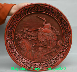 "12"" Qianlong Marked Old China Red lacquerware Qing Dynasty Cranes Birds Plate"