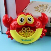 Electric Crab Bubble Machine Bathtub Bubble Maker Light Music Baby Bath Toy NI5L