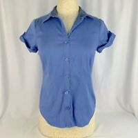 Van Heusen Button Down Blouse Womens Medium Stretch Dusty Blue Short Sleeve