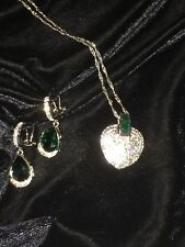 "Swarovski Pave Heart Pendant Emerald Green Crystals & Silver Twist 18"" Necklace"