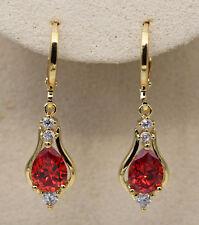 18K Yellow Gold Filled - 1.2'' Hollow Teardrop Ruby Topaz Zircon Gems Earrings