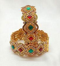 Fashion Jewelry Bangles Set Indian Ethnic Gold Plated Polki Bracelet Free size