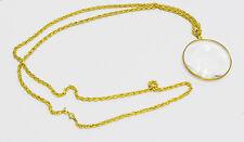 "Binger 2"" inch Round optical glass Magnifier Golden Frame Coat Chain Magnifying"