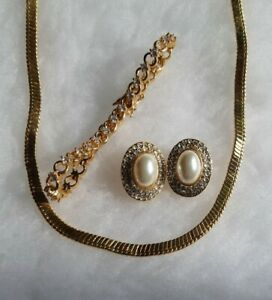 Trifari Gold Tone Necklace With Tennis Bracelet & Clip On Earrings