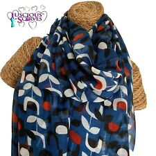 BLUE RED BLACK WHITE SCARF WITH A BLOCK FLORAL DESIGN LADIES SUPERB QUALITY