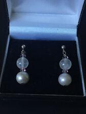 A0929 Fresh Water Pearls & Rock Crystal Drops Silver 925