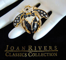 NEW Joan Rivers Onyx Crystal Black Tie TUXEDO HONEY BEE PIN Brooch Enameled Tux!