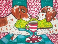 BRITTANY Drinking Coffee Outsider Dog Pop Folk Vintage Art 8 x 10 Signed Print