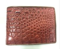 Genuine Crocodile Alligator Skin Leather Men's Bifold Wallet Red Brown