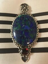 Large Lapis and Garnet Pendant set in Sterling Silver