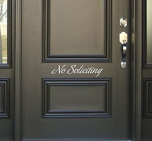 No Soliciting Decal removable sticker wall accent vinyl lettering sign door