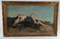 Öl Gemälde auf Leinewand-Der Hirtenjunge-Reproduktion 1951 von Biermann 74x113cm