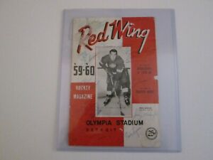 Detroit Red Wings NHL Signed 1959/60 Program Cover - Howe ++++