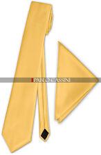 Schmale Krawatte mit Einstecktuch Herren dünne Satinkrawatte Edel Saten Schlips