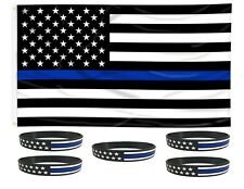 Thin Blue Line USA Flag From TEXAS 3x5 ft 5 TBL Silicone Bracelets Police