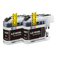 2PK LC103 XL Black High Yield Ink Cartridge For Brother MFC-J870DW MFC-J875DW