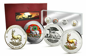 Africa 2018 1000 Francs 4 x 1oz. Silver Investment Coin Prestige-Set Springbock