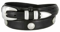 Hagora Men Dark Brown Black Leather Nickeled Indian Buffalo Conchos Buckle Belt