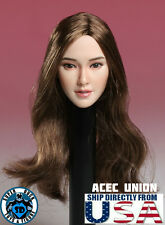 """IN STOCK 1/6 Asian Female Head Sculpt Brown Hair For 12"""" Hot Toys Phicen U.S.A."""