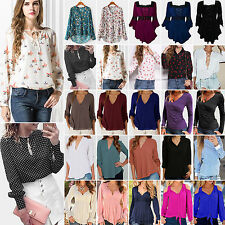 Donna Casual Top a manica lunga camicia Chiffon Donna Larga T-shirt