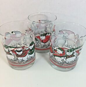 Princess House Double Old Fashioned 3 Glasses 1991 Bears Christmas Winter Lot