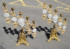 + Pair of Vintage Brass Candelabra Altar Candlesticks + 5 Light + (CU527)