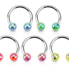 New Surgical Steel Tragus Cartilage Horseshoe Barbell with Paint Splatter balls