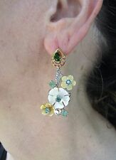 3.12 CTW EMERALD, CHROME DIOPSIDE, RUBY & MOP EARRINGS  TWO-TONE GOLD/925 SILVER