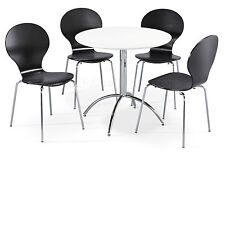 Dining Set Round White Table and 4 Black Chairs Chrome Keeler Kitchen Cafe Style