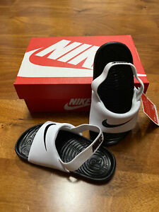 New Nike Kids Kawa Slide (Infant/Toddler) Sandals White/Black size 7 7c