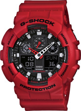 Casio G-Shock GA100B-4A Watch for Men Black and Matte Crimson Red New with Tags