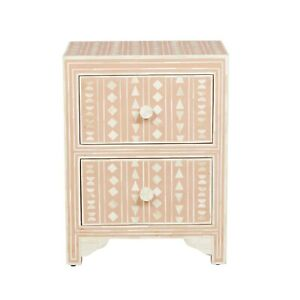 Bone inlay Floral 2 drawer side lamp table (MADE TO ORDER)