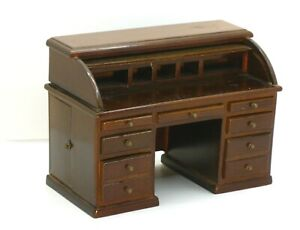 Dark Wood Roll Top Vintage Desk with Drawers and Cubbies Dollhouse Miniature