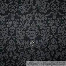 BonEful Fabric FQ Cotton Quilt VTG Black Crow Gray Bird Pumpkin Halloween Damask