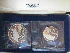 Seychelles 1974 5 & 10 Rupees Green Turtle Silver Proof Coin Collection Set Case