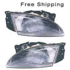 Halogen Head Lamp Assembly Set of 2 LH & RH Side Fits 1996-1998 Hyundai Elantra