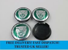 4 x Jaguar 59mm Centre Caps Green Alloy Wheel Hub Badges Emblems Stickers Decals
