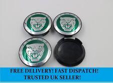 Set of Green Jaguar 59mm Centre Caps Silver Cat Face alloy wheel Hub Badges