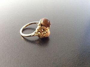 Antique 14K Carat Gold Ring Sycamore Maple Tree Leaf Ball Design