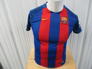 VINTAGE NIKE FC BARCELONA LARGE YOUTH WOMEN'S JERSEY 2016 17 KIT PREOWNED