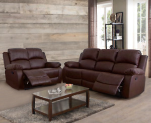 NEW Brown 2PC Recliner Sofa & Loveseat 4 Seat Recliner - Comfortable & Relaxing