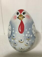 Vintage Handpainted Lancaster County, Pa Wooden Egg Chicken 2.5�