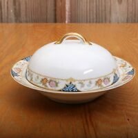Vintage Noritake Nippon Japan Blue and Pink Flower Pattern Bowl and Dome