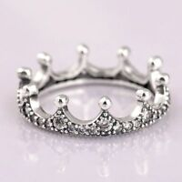Ring Crown Crystal Princess Sterling Silver Women Wedding Gift Fashion Jewelry