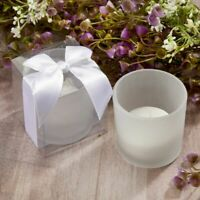25-96 White Frosted Glass Candle w/ Box & Bow - DIY Wedding Party Favors